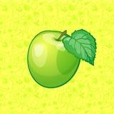 Grüne Apfelfrucht auf Farbhintergrund Auch im corel abgehobenen Betrag Stockfotos