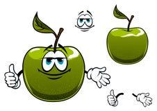 Grüne Apfelfruchtzeichentrickfilm-figur mit dem Daumen oben Lizenzfreie Stockfotografie