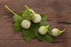 Grüne Aubergine mit Wassertropfen und Aubergine verlässt auf hölzernem Lizenzfreie Stockbilder