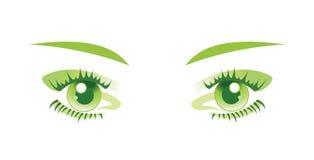 Grüne Augen getrennt. Vektorabbildung. Lizenzfreies Stockbild