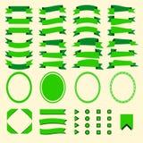 Grüne Bänder und Netzelementsatz Stockbild