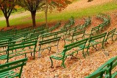 Grüne Bänke Lizenzfreies Stockfoto