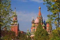 Grüne Bäume und Gras auf dem Hintergrund des Moskaus der Kreml und das rote Quadrat im Park Zaryadye lizenzfreie stockfotos