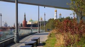 Grüne Bäume und Gras auf dem Hintergrund des Moskaus der Kreml und das rote Quadrat im Park Zaryadye stockfotos