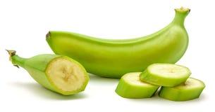 Grüne Banane der Banane lokalisiert Stockfoto