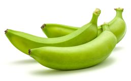 Grüne Banane der Banane lokalisiert Stockbild