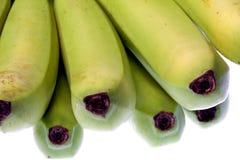 Grüne Bananen getrennt Stockfotos