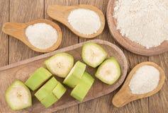 Grüne Bananenmehl Musa paradisiaca stockfoto