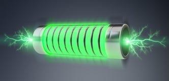 Grüne Batterie mit Wiedergabe der Blitze 3D Lizenzfreie Stockfotografie