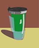 Grüne Becherthermosflasche für Getränke Stockbild