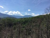 Grüne Berge mit teilweise bewölktem Himmel und unfruchtbar stockbilder