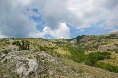 Grüne Berge und blaue bewölkter Himmel-Natur stockfotografie
