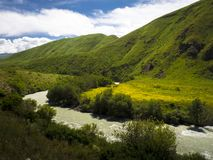 Chuy river, green mountains, yellow meadows royalty free stock photos