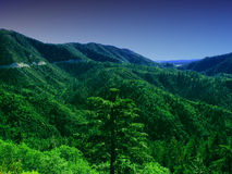 Grüne Berge und Nachtfall stockfotografie