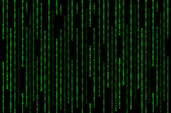 Grüne binäre Matrix auf schwarzem Hintergrund stockfotos