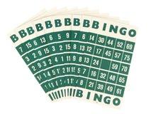 Grüne Bingokarten getrennt lizenzfreie stockbilder