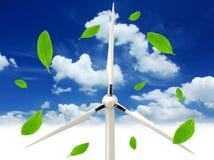 Grüne Blätter und Windturbine Stockfotografie