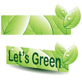 Grüne Blattfahne Lizenzfreies Stockbild