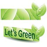 Grüne Blattfahne stock abbildung