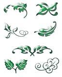 Grüne Blattikonen Stockfotos