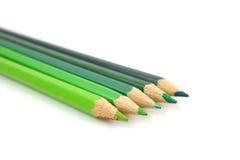 Grüne Bleistifte in der Nahaufnahme Lizenzfreie Stockfotografie