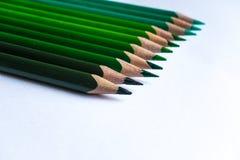 Grüne Bleistifte in der Reihe, lokalisiert auf weißem Hintergrund Stockfoto