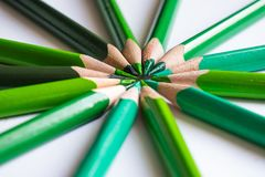 Grüne Bleistifte, die einen Farbkreis lokalisiert auf weißem Hintergrund bilden Stockfotos
