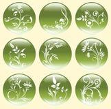 Grüne Blumen-Tasten oder Ikonen Stockfotos