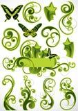Grüne Blumenauslegungen Lizenzfreie Stockfotos