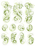 Grüne Blumenauslegungen auf Weiß Lizenzfreie Stockbilder