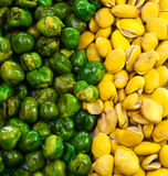 Grüne Bohne und gelbe Bohne stockfotos