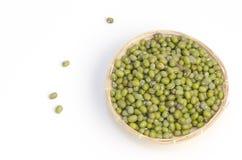 Grüne Bohne (Vigna radiata (L.) R. Wilcz) auf Weiß lizenzfreie stockfotos