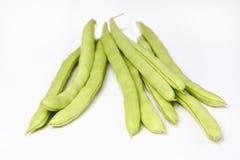Grüne Bohnen auf Weiß Lizenzfreies Stockbild