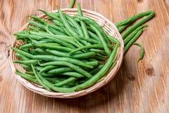 Grüne Bohnen der frischen Stangenbohnen Stockfotos