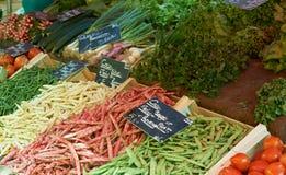 Grüne Bohnen am Provence-Markt Lizenzfreies Stockbild
