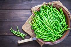 Grüne Bohnen schließen oben Stockfotos