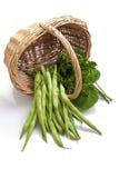 Grüne Bohnen und Salat Stockfotografie