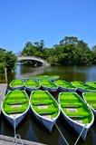 Grüne Boote auf dem See im Sommer in Japan Stockbild
