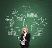 Grüne Brett MBA-Skizze und -dame lizenzfreie stockbilder