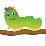 Grüne Caterpillar-Karikatur Vektorillustration auf einem weißen Hintergrund Stockfotografie