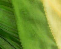 Grüne Chiffon- Gewebebeschaffenheit, vetical Beschaffenheit Stockbild