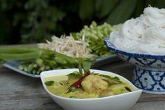 Grüne Curry-und Reis-Nudeln Lizenzfreies Stockbild