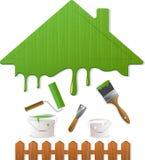 Grüne Dach- und Anstrichhilfsmittel Stockbild