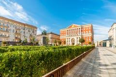Grüne Dekoration von Tverskaya-Quadrat von Moskau Stockbild