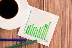 Grüne Diagramme auf einer Serviette Stockbild