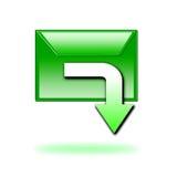 Grüne Downloadikone Stockbilder
