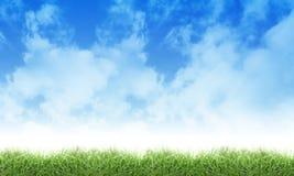Grüne Eco Natur-Himmel-Wolken und Gras Lizenzfreie Stockbilder