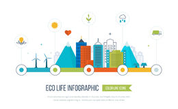 Grüne eco Stadt infographic Ökologiekonzept, Lizenzfreie Stockfotografie