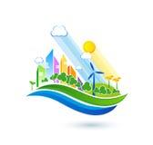 Grüne eco Stadt mit Privathäusern, Plattenhäuser, Windkraftanlagen Lizenzfreies Stockbild