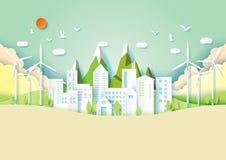 Grüne eco Stadt- und Umweltkonzeptpapier-Kunstart lizenzfreie abbildung